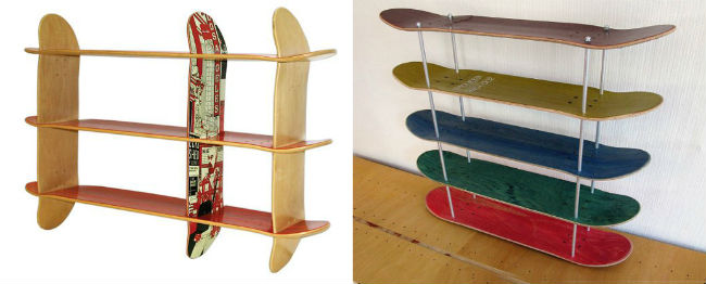 skateboard regal selber bauen aus recycelten skateboards. Black Bedroom Furniture Sets. Home Design Ideas