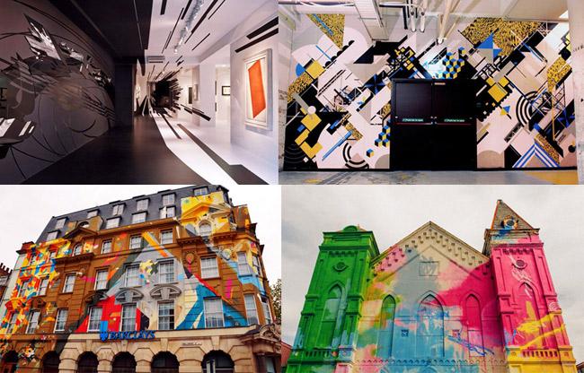 moderne wandgestaltung wohnzimmer künstler urban art graffiti künstler