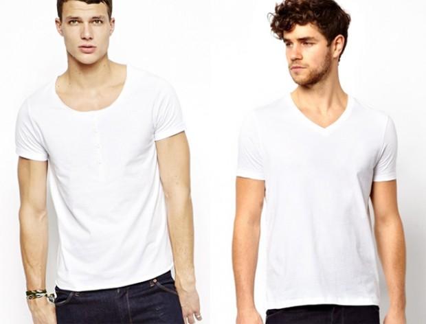  weißes t shirt herren v ausschnitt rundhals fashion shop ...