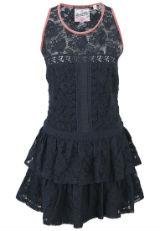 Kleid mit Spitze Spitzenkleid Blau pink rosa