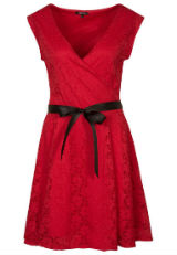Kleid mit Spitze Spitzenkleid Rot