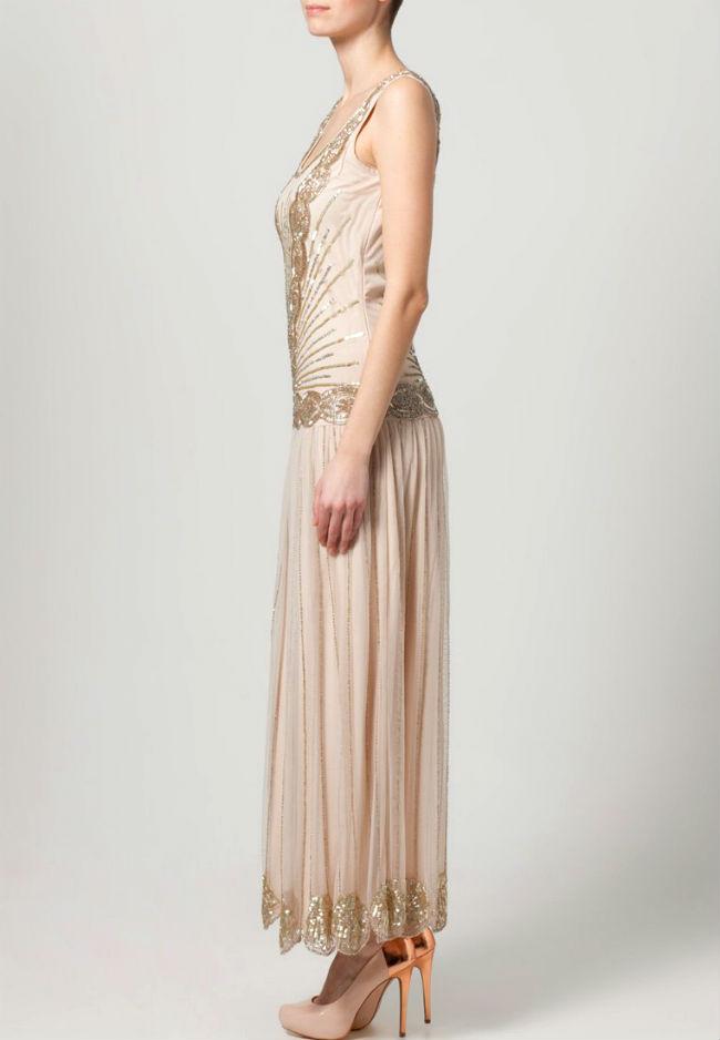Rückenfreies Kleid lang mit Perlen 2