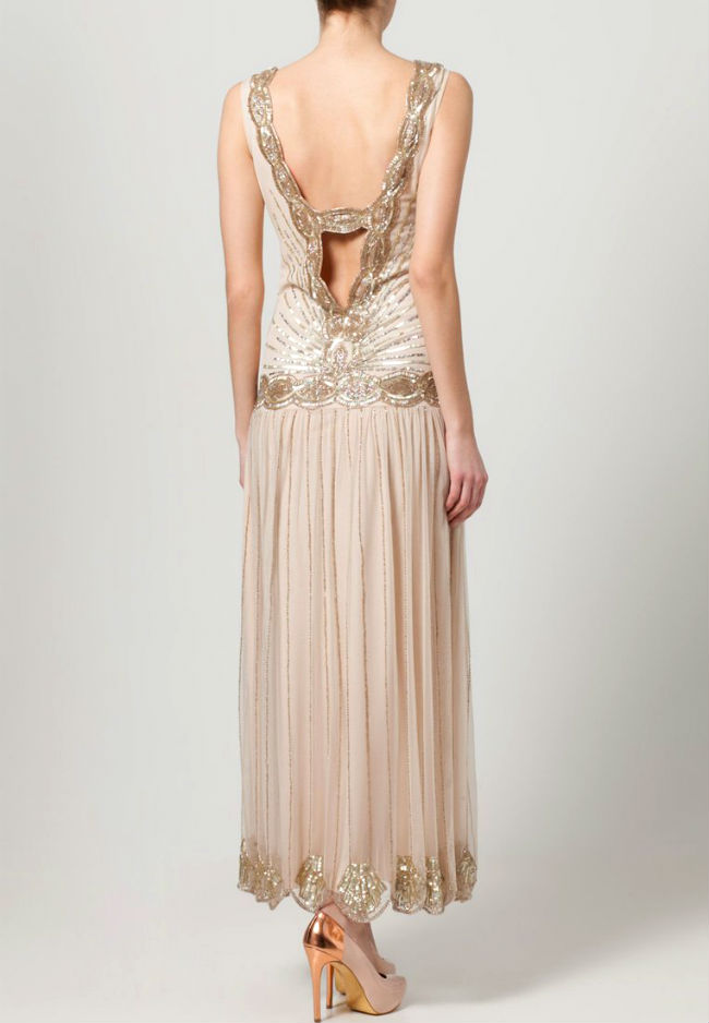 Rückenfreies Kleid lang mit Perlen 3