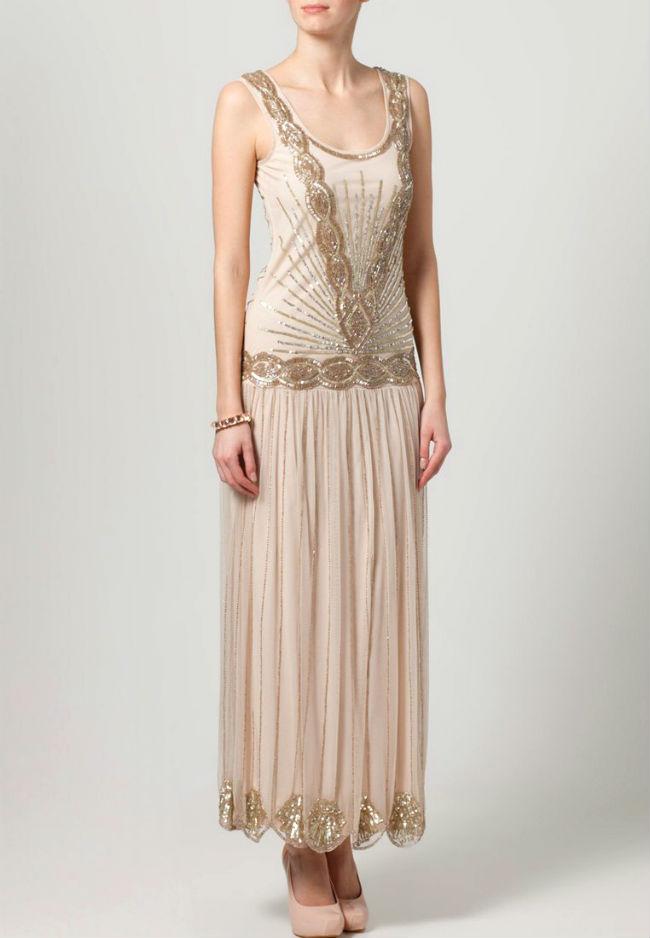 Rückenfreies Kleid lang mit Perlen