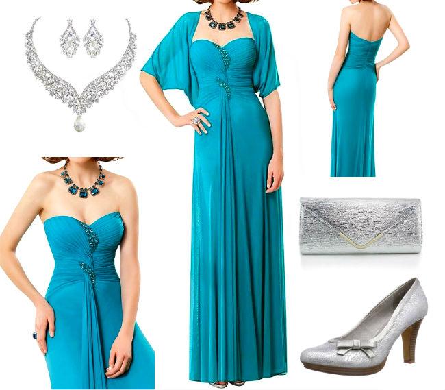 Türkis grüne Ballkleider lange Outfit