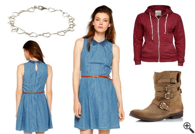 Damen Jeanskleid Outfit Reißverschluss Mädchen