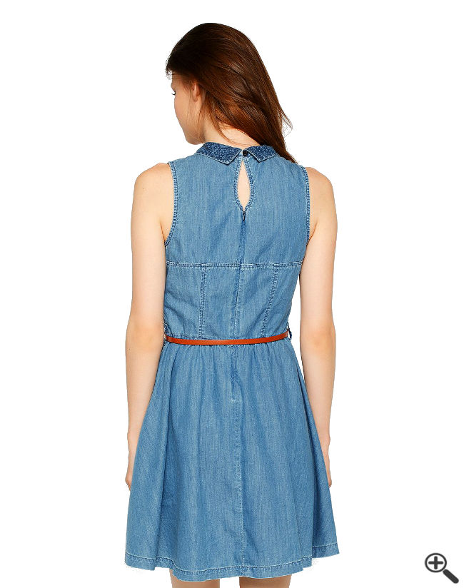 Damen Jeanskleid Rücken Reißverschluss Damen Outfit