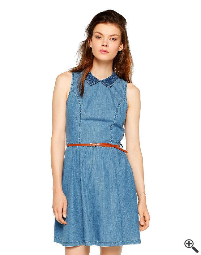 Jeanskleid Reißverschluss Damen Outfit