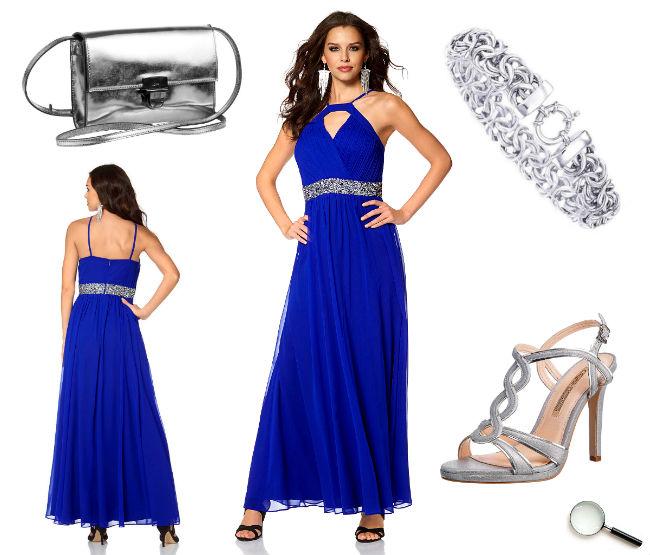 Schöne Abendkleider Outfit blau lang günstig Kleider