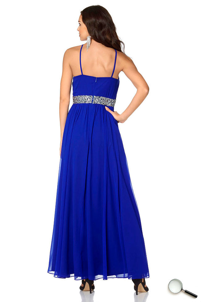 Schöne Abendkleider Rückenfrei blau lang günstig Outfit Kleider