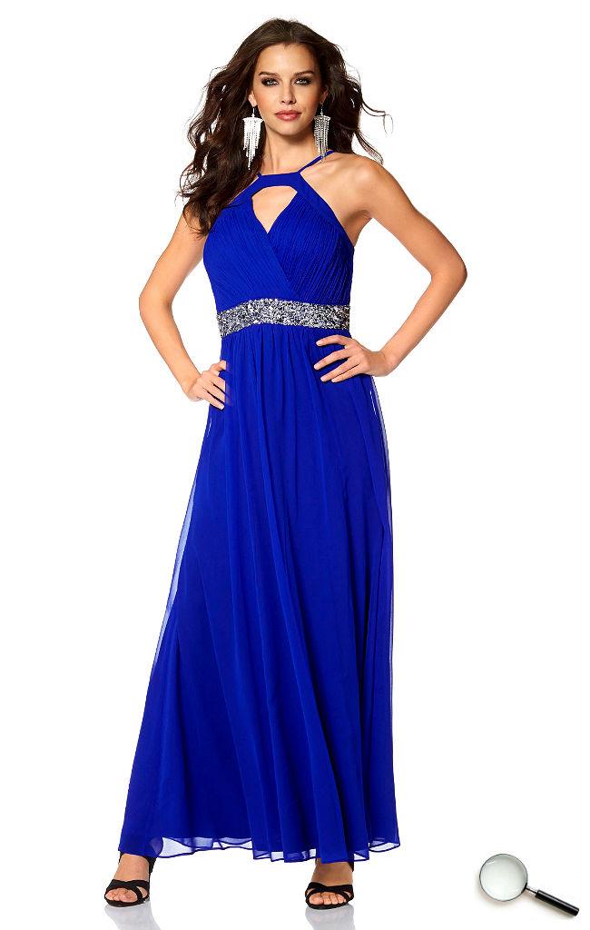 Schöne Abendkleider blau lang günstig Outfit Kleider