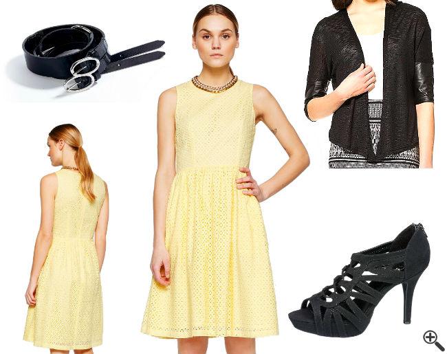 Schöne Kleider für Hochzeitsgäste Outfit sommerlich gelb