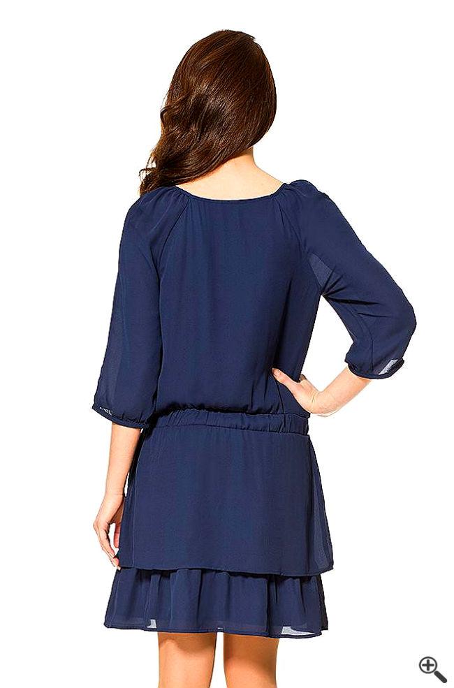 schöne elegante Kleider Rücken Knielang langarm Sportlich Outfit
