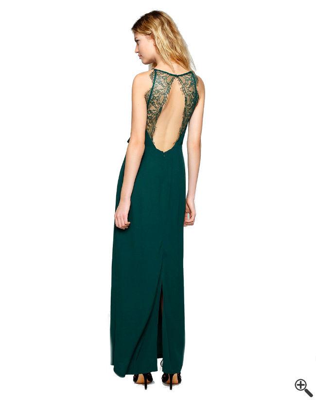 Festliche Kleider zur Hochzeit als Gast Rückenfrei grün lang Outfit