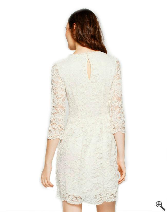 Kleider mit Ärmeln Weiße transparente Spitze Outfit Rücken