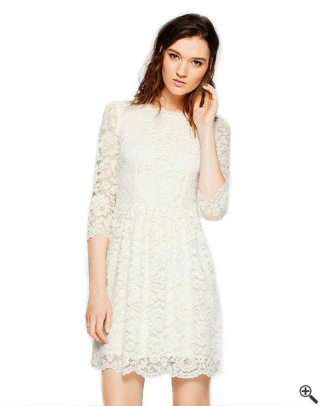 Kleider mit transparenten Ärmeln Weiße Spitzen Outfit