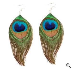 Feder-Ohrringe für Desigual Kleider SALE Blau Grün Outfit