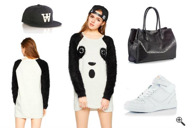 Panda Outfit Schöne Ausgefallene Kleider Weiß Kurz