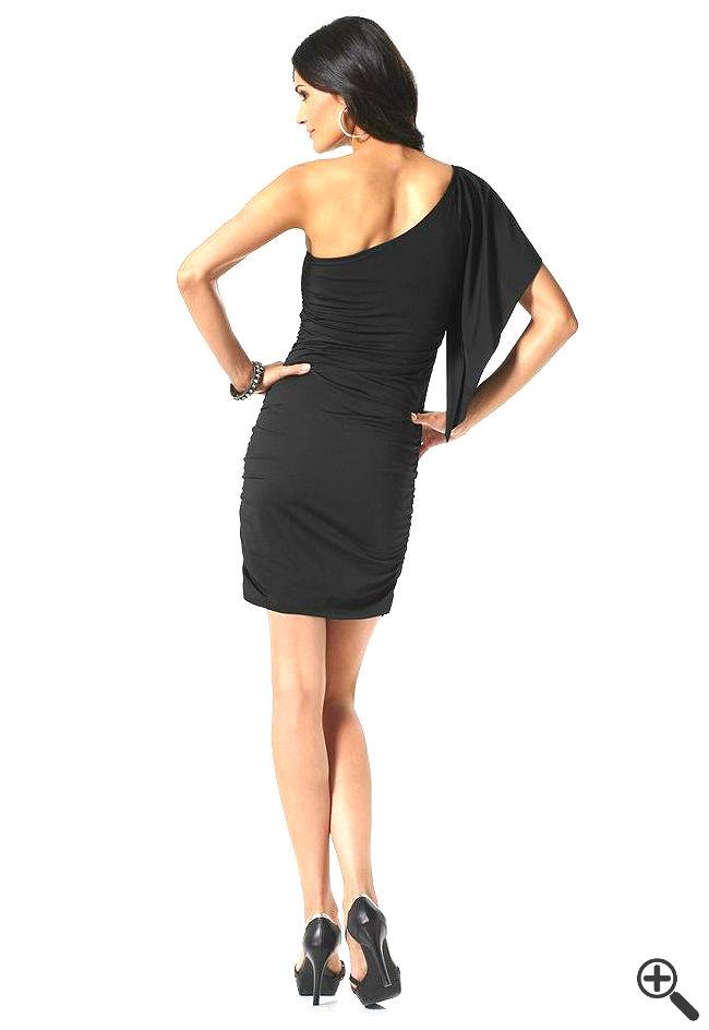 One Shoulder Kleid Rückenfrei kurz schwarz Outfit Ideen