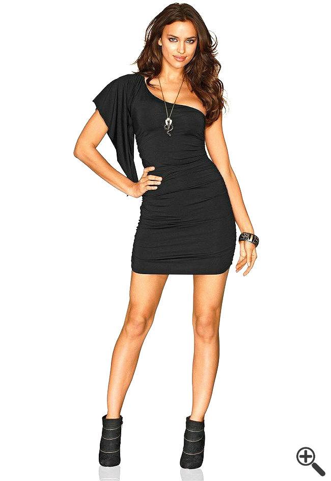 One Shoulder Kleid schwarz kurz Outfit Ideen