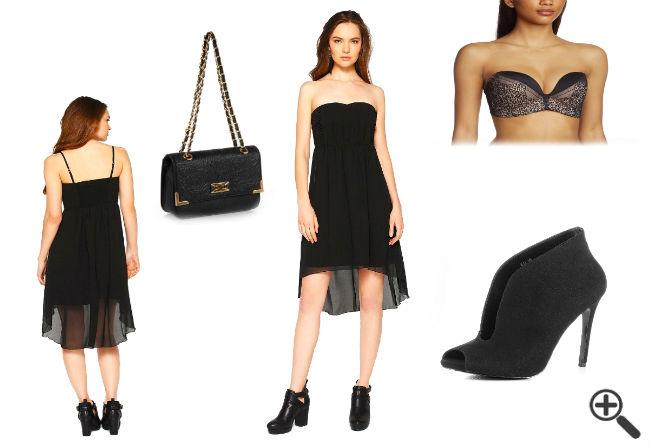 Sommer Outfit Trägerloses Kleid vorne kurz hinten lang schwarz