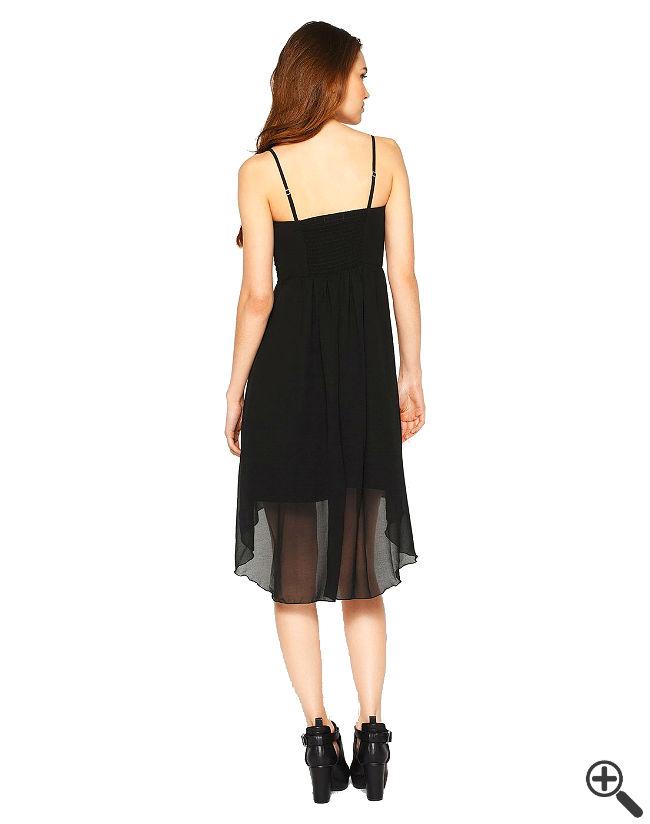 Trägerloses Kleid vorne kurz hinten lang Rückenfrei schwarz Sommer Outfit