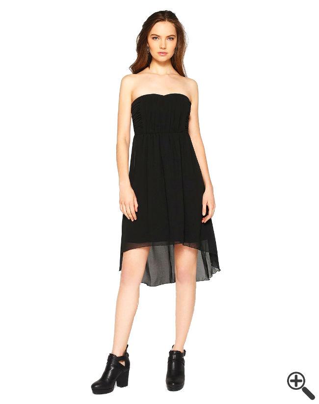 Trägerloses Kleid vorne kurz hinten lang schwarz Sommer Outfit
