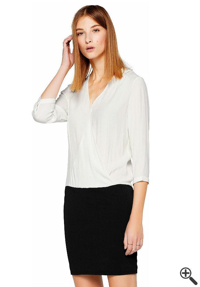 Blusenkleid schwarz weiß Business Outfit Tipp