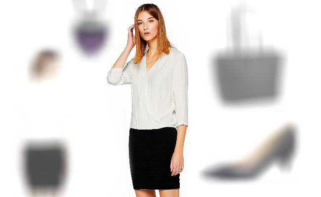 Blusenkleid schwarz weiß Langarm