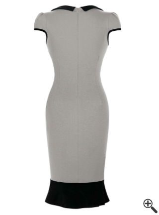 Fishtail Kleid Grau Schwarz Outfit Ideen