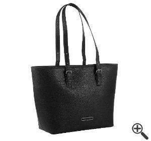 Handtasche für Blusenkleid schwarz weiß Business Outfit Tipp