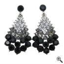 Ohrringe für schwarzes Glitzerkleid kurz rückenfrei Party Outfit