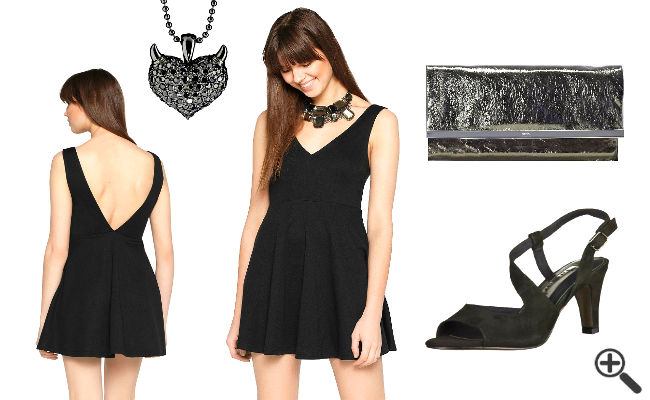 Outfit fürs erste Date Schwarzes Kleid mit V-Ausschnitt