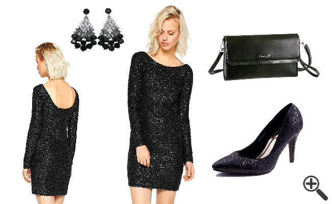 Party Outfit schwarzes Glitzerkleid kurz rückenfrei