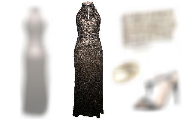 Schwarze Pailletten Kleider lang