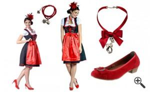 Dirndl Outfit Dirndl Schwarz Rot