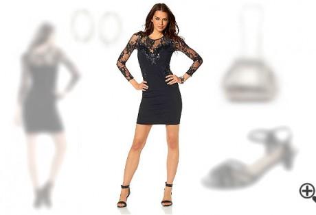 Melanie suchte sexy Partykleider mit Ärmel & wir stellen ihr dieses schwarze Party Outfit zusammen