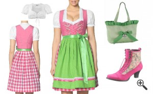 Dirndl Outfit Dirndl grün pink