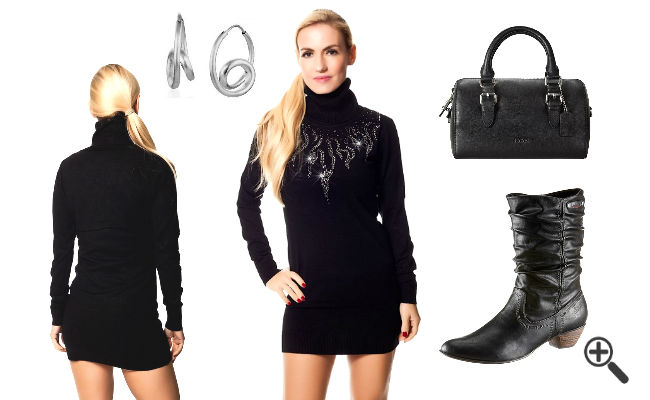 Herbst Outfits Damen Strickkleid schwarz Langarm Rollkragen