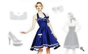 Damen Marine Kleid mit Petticoat Marineblaues