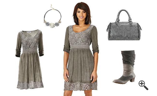 Outfit Ideen Langarm T-Shirtkleid mit Spitze Damen