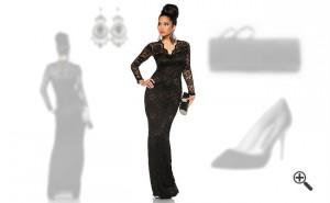 Elegante Abendkleider lang mit Ärmel Spitze