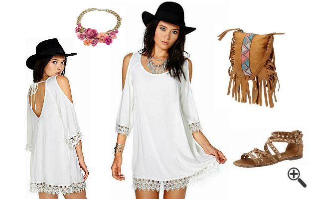 Hippie Outfit Style Schöne Hippie Kleider Weiß Spitze