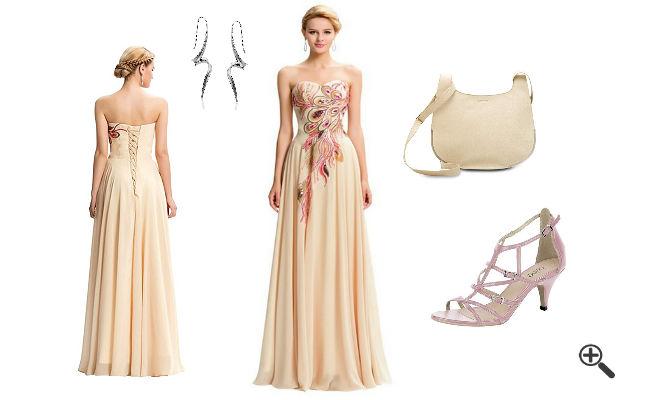 Hochzeitsoutfit für Gäste Kleider Trauzeugin Lang Pink