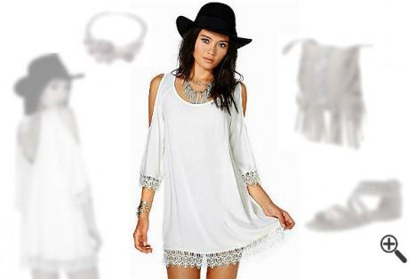 Schöne Hippie Kleider Weiß Spitze