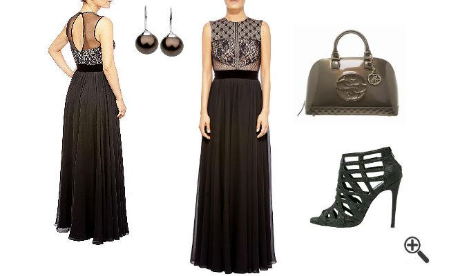 Abendoutfit Rückenfreies Kleid schwarz lang