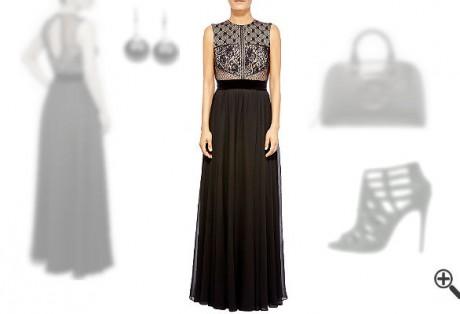 Rückenfreies Kleid schwarz lang