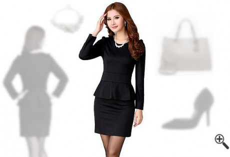 Schößchen Kleid Schwarz Langarm