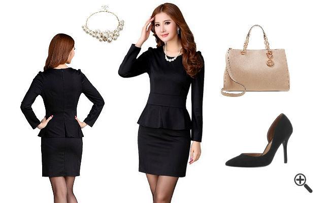 Schöne Outfits Schößchen Kleid Schwarz Langarm