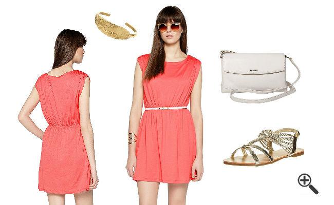 Schöne Sommer Outfits Kleid Koralle Kombinieren